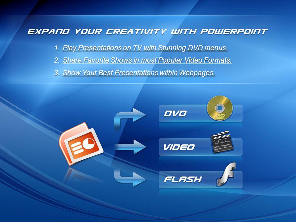 1.Play Presentations on TV with Stunning DVD menus.