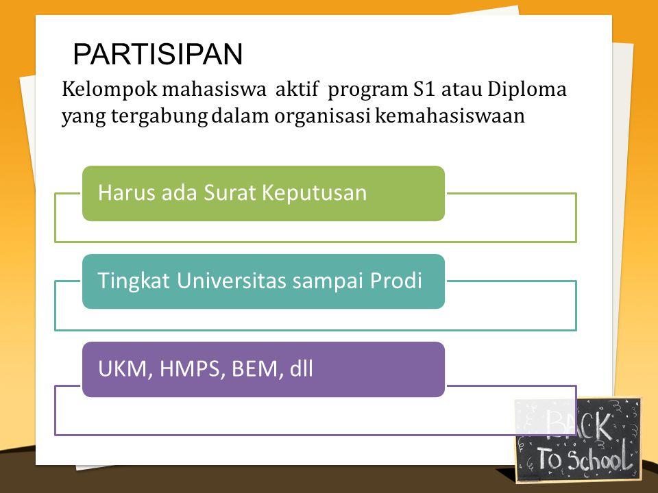 Harus ada Surat KeputusanTingkat Universitas sampai ProdiUKM, HMPS, BEM, dll PARTISIPAN Kelompok mahasiswa aktif program S1 atau Diploma yang tergabung dalam organisasi kemahasiswaan