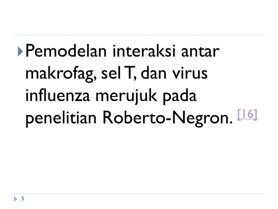 Adapun model matematika untuk interaksi antar makrofag, sel T, dan virus influenza adalah sebagai berikut: 6