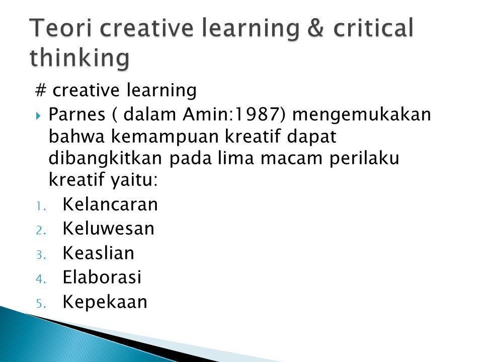 # creative learning  Parnes ( dalam Amin:1987) mengemukakan bahwa kemampuan kreatif dapat dibangkitkan pada lima macam perilaku kreatif yaitu: 1. Kel