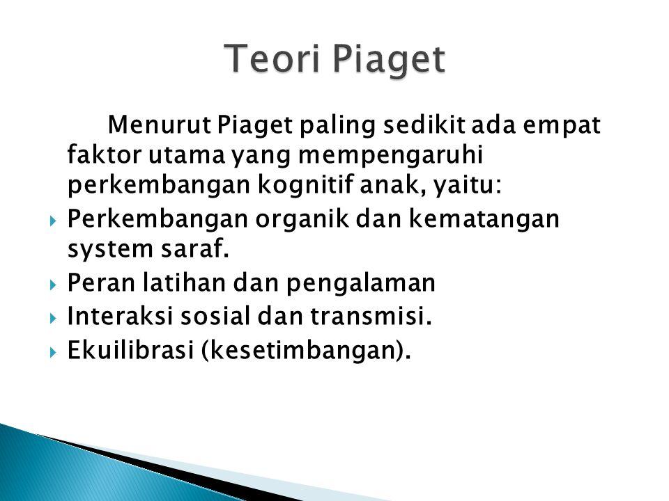 Menurut Piaget paling sedikit ada empat faktor utama yang mempengaruhi perkembangan kognitif anak, yaitu:  Perkembangan organik dan kematangan system saraf.