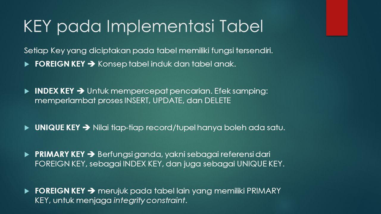 KEY pada Implementasi Tabel Setiap Key yang diciptakan pada tabel memiliki fungsi tersendiri.