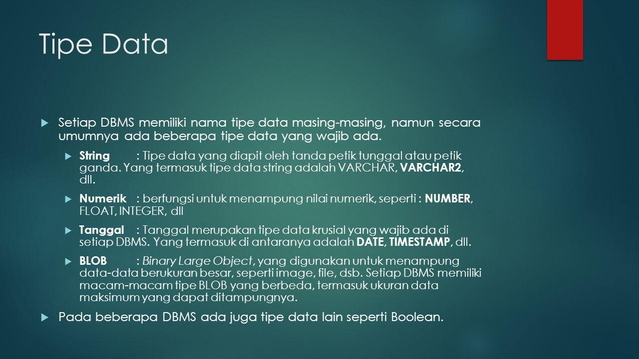 Tipe Data  Setiap DBMS memiliki nama tipe data masing-masing, namun secara umumnya ada beberapa tipe data yang wajib ada.