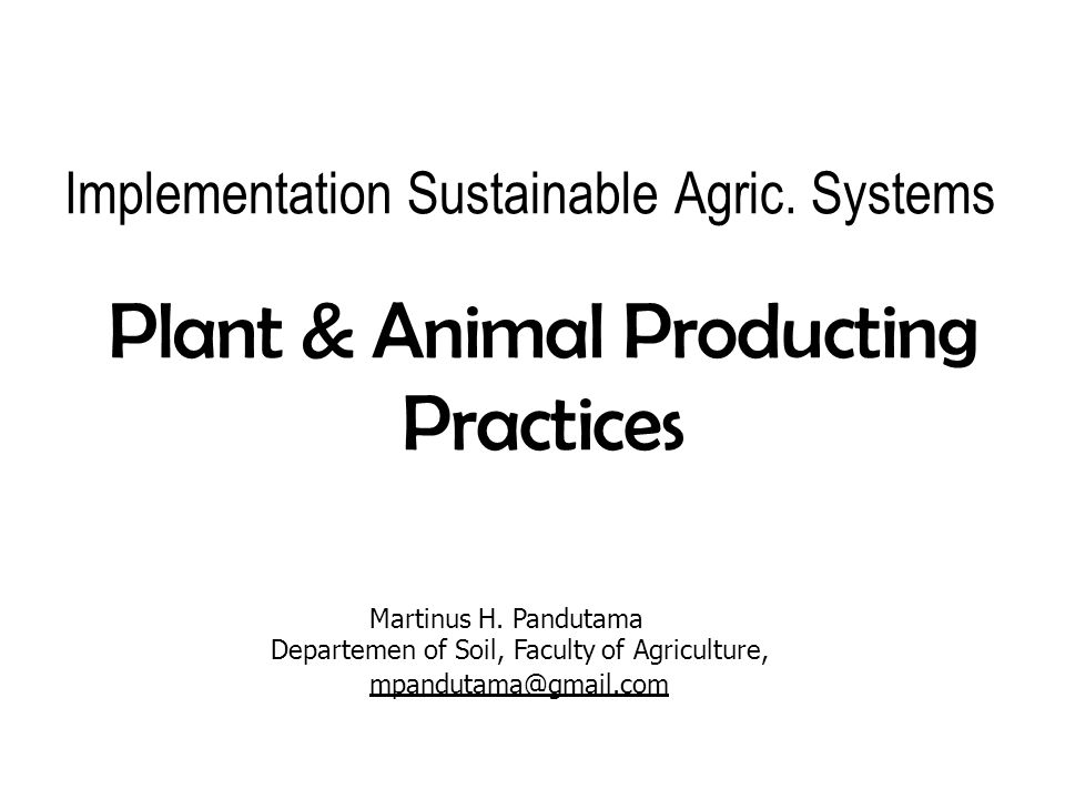 Implementation Sustainable Agric. Systems Plant&Animal Producting Practices Martinus H. Pandutama Departemen of Soil, Faculty of Agriculture, mpanduta
