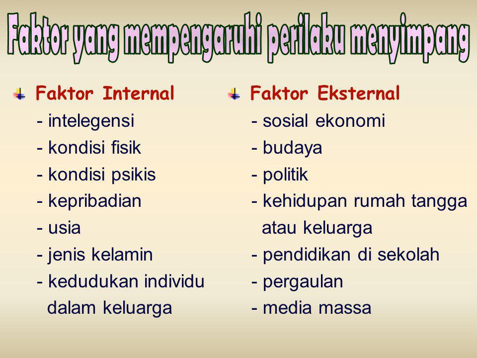 Faktor Internal - intelegensi - kondisi fisik - kondisi psikis - kepribadian - usia - jenis kelamin - kedudukan individu dalam keluarga Faktor Eksternal - sosial ekonomi - budaya - politik - kehidupan rumah tangga atau keluarga - pendidikan di sekolah - pergaulan - media massa