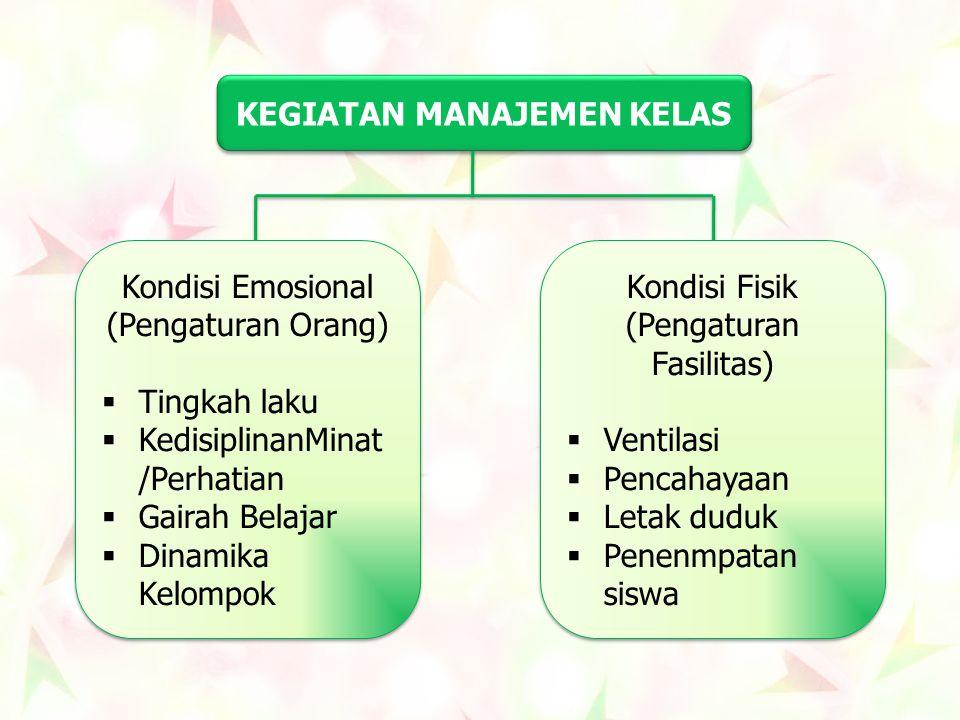 KEGIATAN MANAJEMEN KELAS Kondisi Emosional (Pengaturan Orang)  Tingkah laku  KedisiplinanMinat /Perhatian  Gairah Belajar  Dinamika Kelompok Kondi