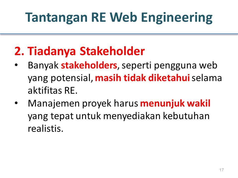 Tantangan RE Web Engineering 2. Tiadanya Stakeholder Banyak stakeholders, seperti pengguna web yang potensial, masih tidak diketahui selama aktifitas