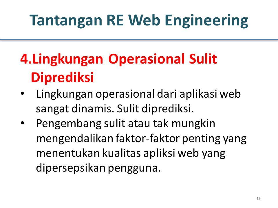 Tantangan RE Web Engineering 4.Lingkungan Operasional Sulit Diprediksi Lingkungan operasional dari aplikasi web sangat dinamis. Sulit diprediksi. Peng