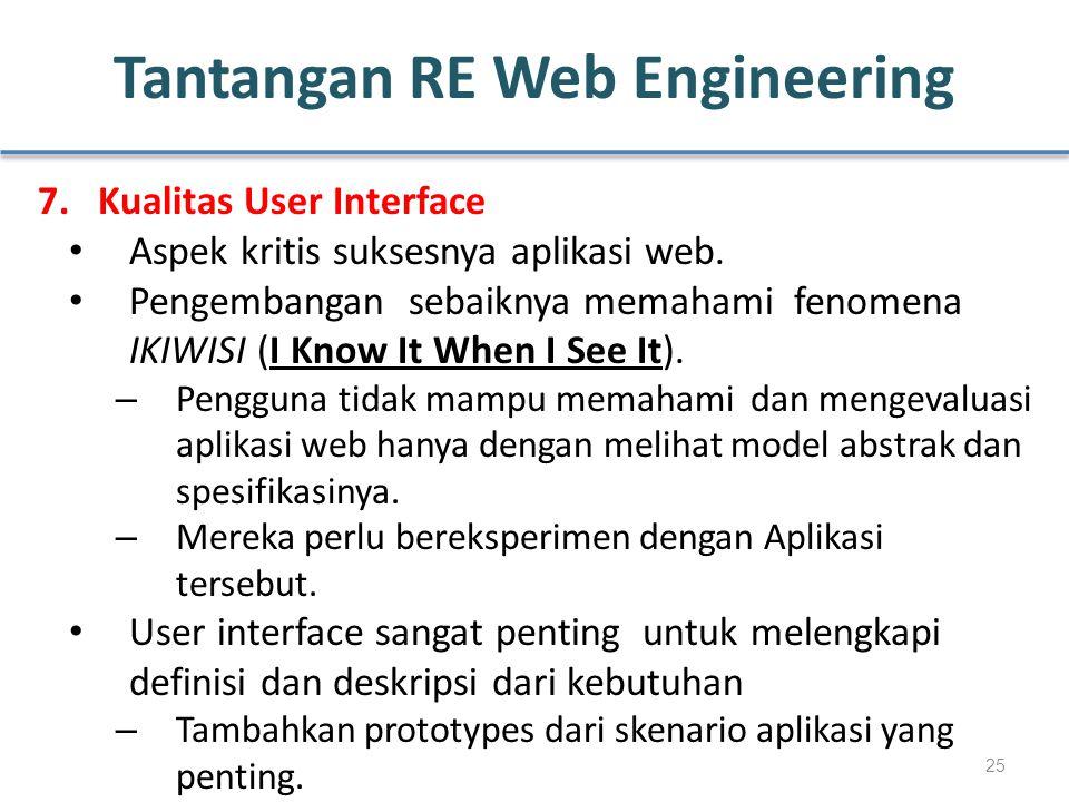 Tantangan RE Web Engineering 7.Kualitas User Interface Aspek kritis suksesnya aplikasi web. Pengembangan sebaiknya memahami fenomena IKIWISI (I Know I