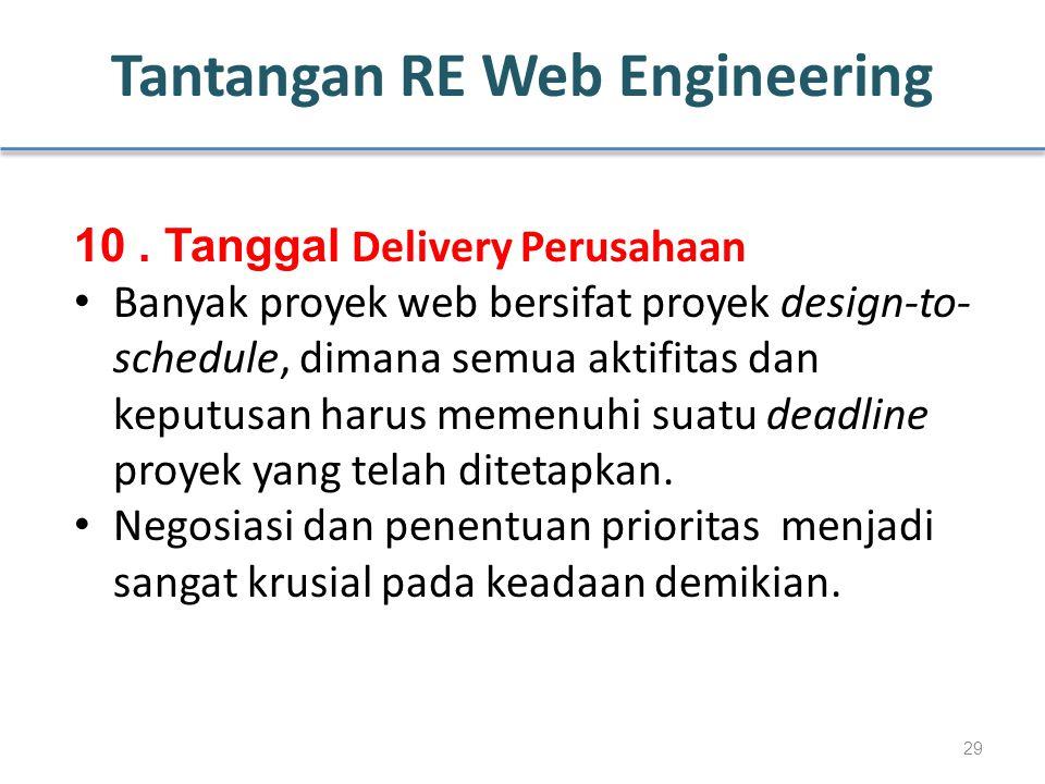 Tantangan RE Web Engineering 10. Tanggal Delivery Perusahaan Banyak proyek web bersifat proyek design-to- schedule, dimana semua aktifitas dan keputus