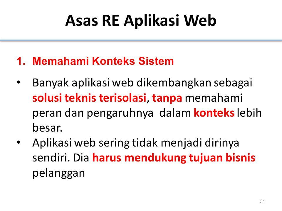 Asas RE Aplikasi Web 1.Memahami Konteks Sistem Banyak aplikasi web dikembangkan sebagai solusi teknis terisolasi, tanpa memahami peran dan pengaruhnya dalam konteks lebih besar.