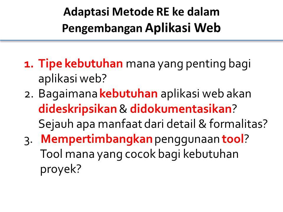 Adaptasi Metode RE ke dalam Pengembangan Aplikasi Web 1.Tipe kebutuhan mana yang penting bagi aplikasi web? 2.Bagaimana kebutuhan aplikasi web akan di