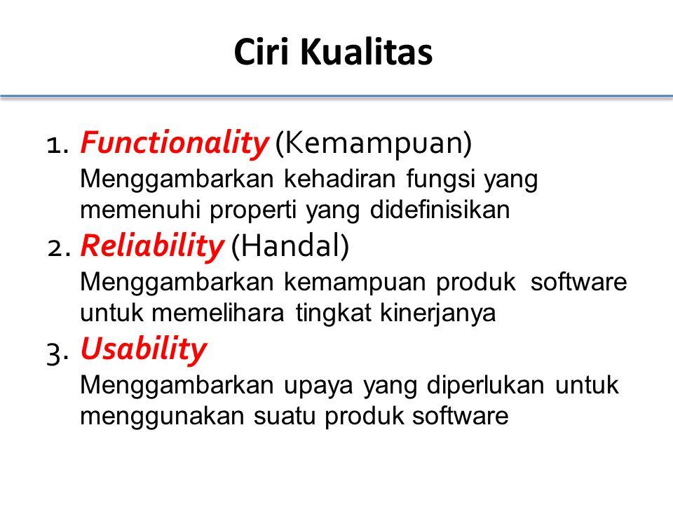 Ciri Kualitas 1.Functionality (Kemampuan) Menggambarkan kehadiran fungsi yang memenuhi properti yang didefinisikan 2.Reliability (Handal) Menggambarkan kemampuan produk software untuk memelihara tingkat kinerjanya 3.Usability Menggambarkan upaya yang diperlukan untuk menggunakan suatu produk software