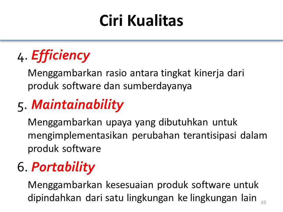 Ciri Kualitas 4.Efficiency Menggambarkan rasio antara tingkat kinerja dari produk software dan sumberdayanya 5.Maintainability Menggambarkan upaya yang dibutuhkan untuk mengimplementasikan perubahan terantisipasi dalam produk software 6.Portability Menggambarkan kesesuaian produk software untuk dipindahkan dari satu lingkungan ke lingkungan lain 49