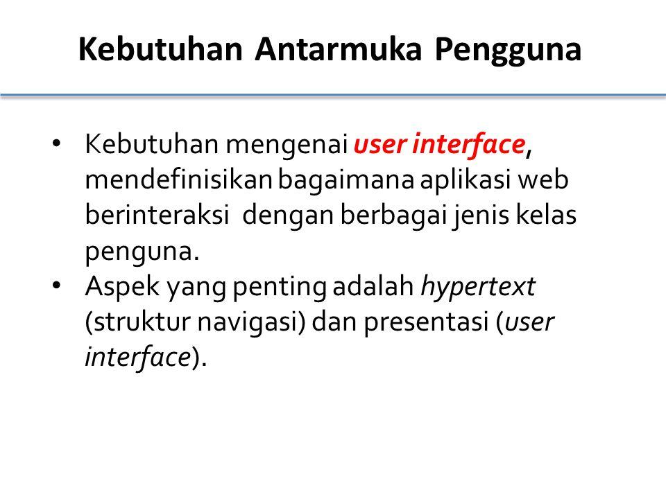 Kebutuhan Antarmuka Pengguna Kebutuhan mengenai user interface, mendefinisikan bagaimana aplikasi web berinteraksi dengan berbagai jenis kelas penguna.