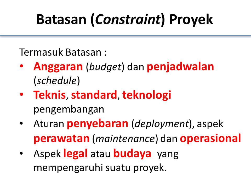 Batasan (Constraint) Proyek Termasuk Batasan : Anggaran (budget) dan penjadwalan (schedule) Teknis, standard, teknologi pengembangan Aturan penyebaran