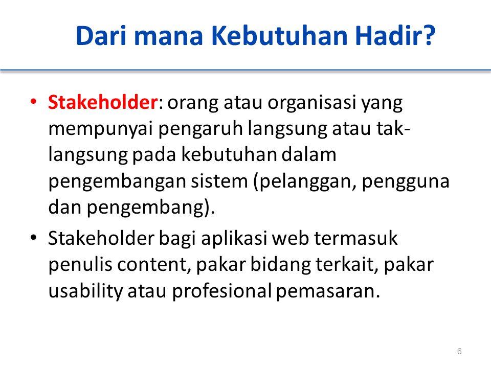 Dari mana Kebutuhan Hadir? Stakeholder: orang atau organisasi yang mempunyai pengaruh langsung atau tak- langsung pada kebutuhan dalam pengembangan si