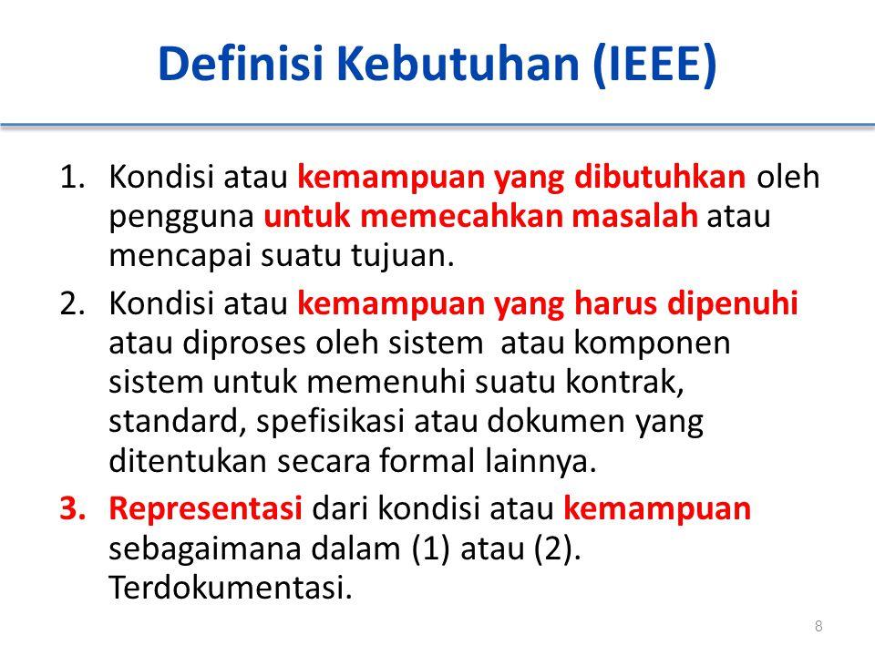 Definisi Kebutuhan (IEEE) 1.Kondisi atau kemampuan yang dibutuhkan oleh pengguna untuk memecahkan masalah atau mencapai suatu tujuan. 2.Kondisi atau k