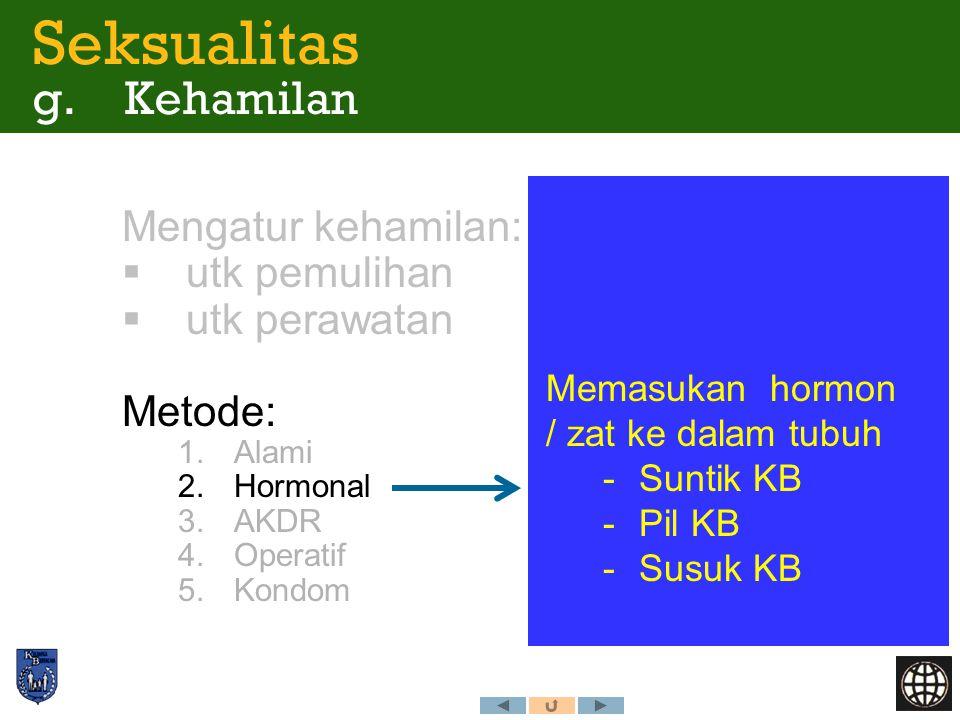 Mengatur kehamilan:  utk pemulihan  utk perawatan Metode: 1.Alami 2.Hormonal 3.AKDR 4.Operatif 5.Kondom Memasukan hormon / zat ke dalam tubuh -Suntik KB -Pil KB -Susuk KB Seksualitas g.