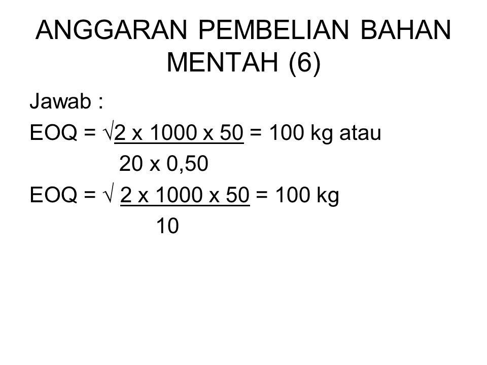 ANGGARAN PEMBELIAN BAHAN MENTAH (6) Jawab : EOQ = √2 x 1000 x 50 = 100 kg atau 20 x 0,50 EOQ = √ 2 x 1000 x 50 = 100 kg 10