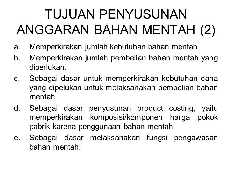 TUJUAN PENYUSUNAN ANGGARAN BAHAN MENTAH (2) a.Memperkirakan jumlah kebutuhan bahan mentah b.Memperkirakan jumlah pembelian bahan mentah yang diperluka