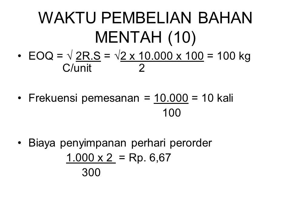 WAKTU PEMBELIAN BAHAN MENTAH (10) EOQ = √ 2R.S = √2 x 10.000 x 100 = 100 kg C/unit 2 Frekuensi pemesanan = 10.000 = 10 kali 100 Biaya penyimpanan perh