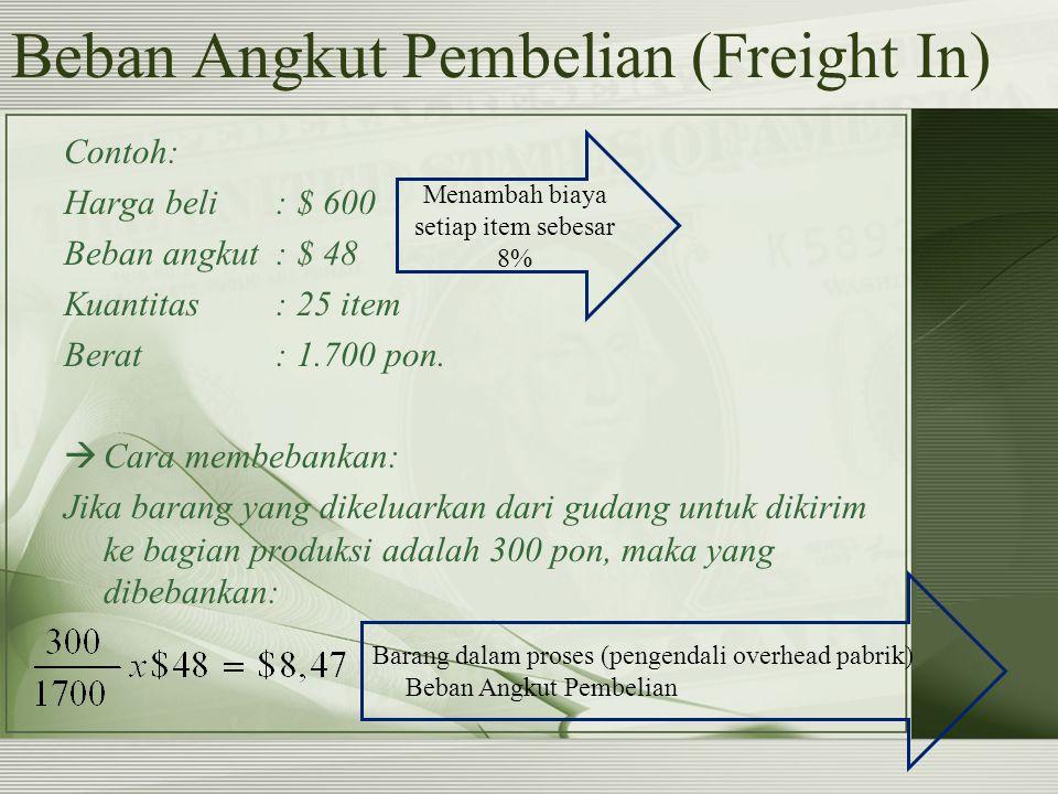 Beban Angkut Pembelian (Freight In) Contoh: Harga beli: $ 600 Beban angkut: $ 48 Kuantitas: 25 item Berat: 1.700 pon.  Cara membebankan: Jika barang