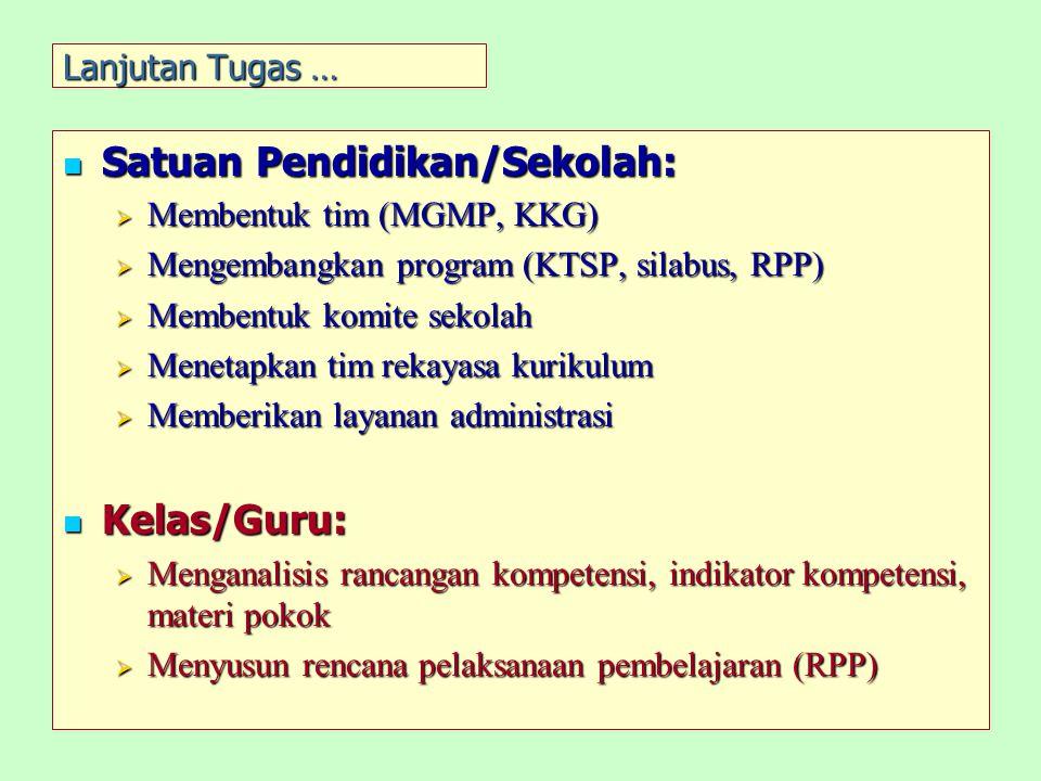 Lanjutan Tugas … Satuan Pendidikan/Sekolah: Satuan Pendidikan/Sekolah:  Membentuk tim (MGMP, KKG)  Mengembangkan program (KTSP, silabus, RPP)  Memb