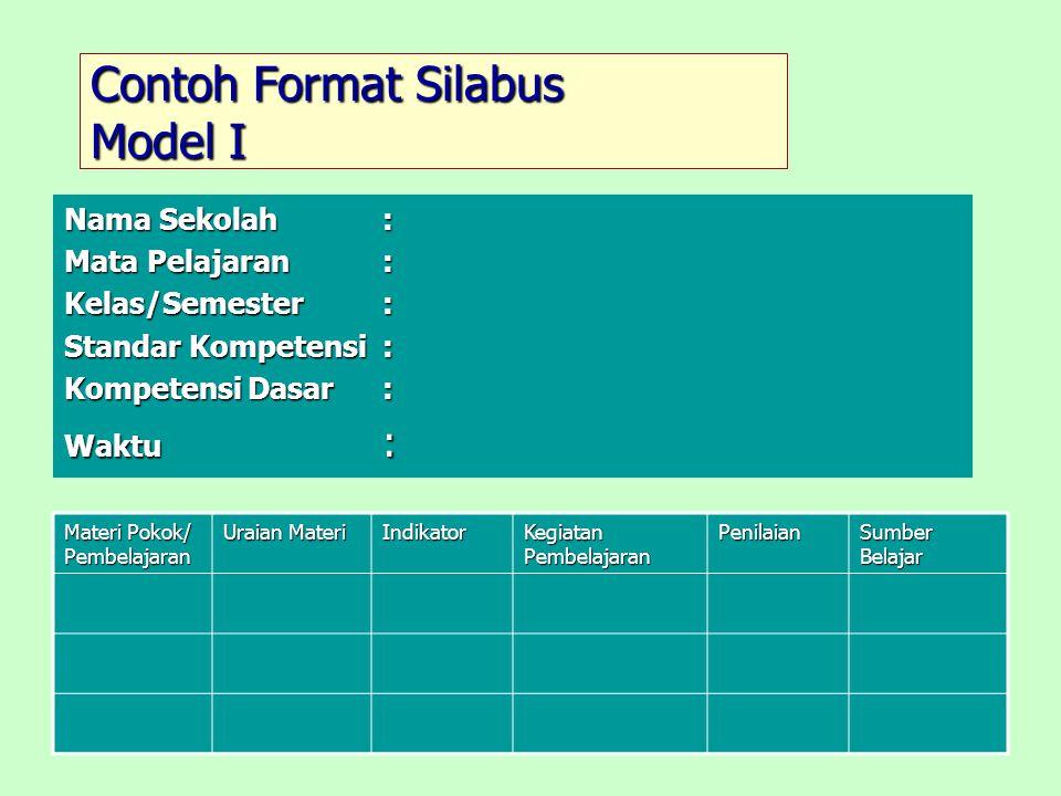 Contoh Format Silabus Model I Nama Sekolah: Mata Pelajaran: Kelas/Semester: Standar Kompetensi : Kompetensi Dasar: Waktu : Materi Pokok/ Pembelajaran