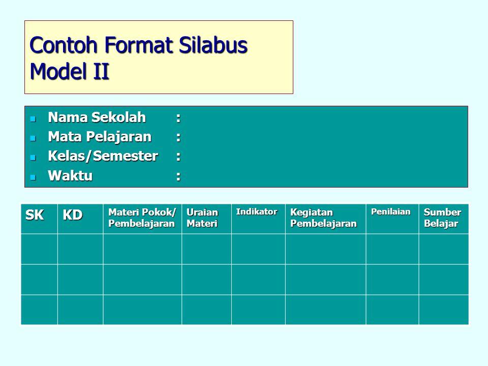 Contoh Format Silabus Model II Nama Sekolah: Nama Sekolah: Mata Pelajaran: Mata Pelajaran: Kelas/Semester: Kelas/Semester: Waktu: Waktu: SKKD Materi P