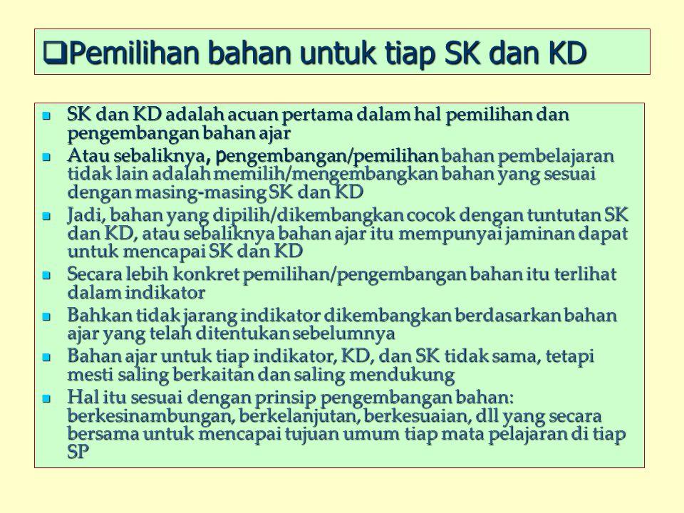  Pemilihan bahan untuk tiap SK dan KD SK dan KD adalah acuan pertama dalam hal pemilihan dan pengembangan bahan ajar SK dan KD adalah acuan pertama d