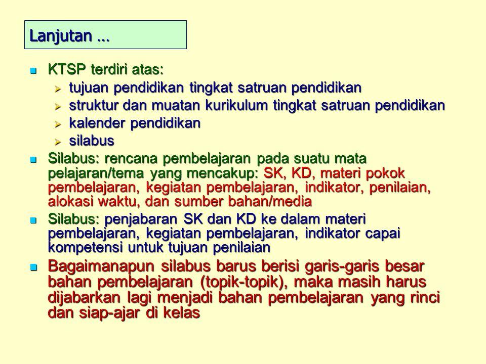 Lanjutan … KTSP terdiri atas: KTSP terdiri atas:  tujuan pendidikan tingkat satruan pendidikan  struktur dan muatan kurikulum tingkat satruan pendid