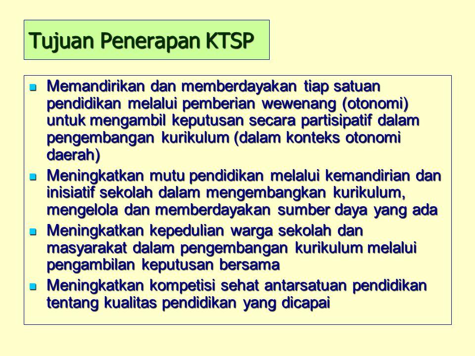 Tujuan Penerapan KTSP Memandirikan dan memberdayakan tiap satuan pendidikan melalui pemberian wewenang (otonomi) untuk mengambil keputusan secara part