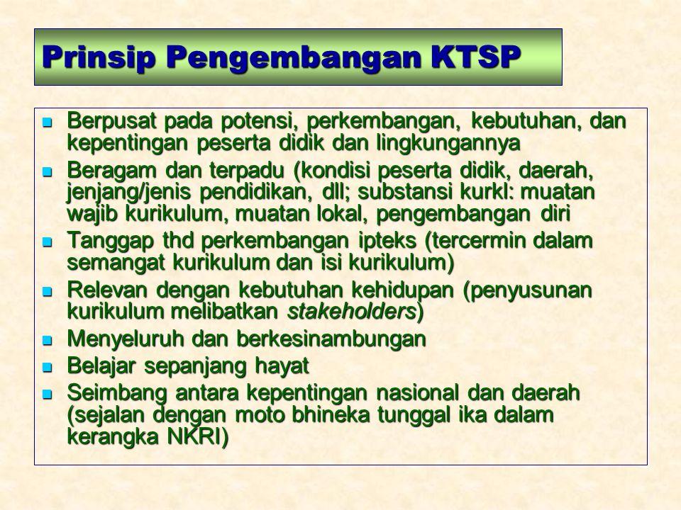 Prinsip Pengembangan KTSP Berpusat pada potensi, perkembangan, kebutuhan, dan kepentingan peserta didik dan lingkungannya Berpusat pada potensi, perke