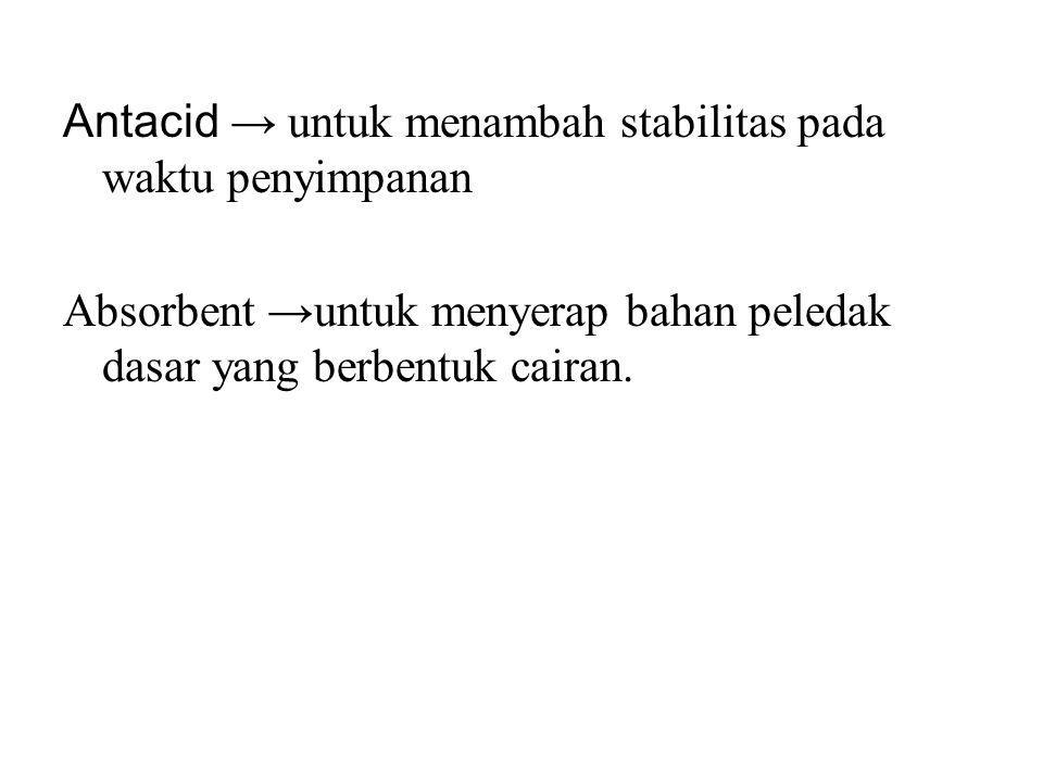 Antacid → untuk menambah stabilitas pada waktu penyimpanan Absorbent →untuk menyerap bahan peledak dasar yang berbentuk cairan.