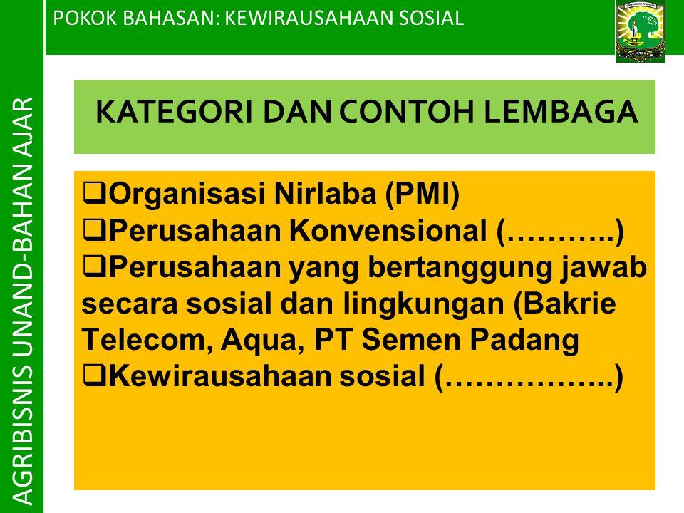 POKOK BAHASAN: KEWIRAUSAHAAN SOSIAL AGRIBISNIS UNAND-BAHAN AJAR  Organisasi Nirlaba (PMI)  Perusahaan Konvensional (………..)  Perusahaan yang bertang