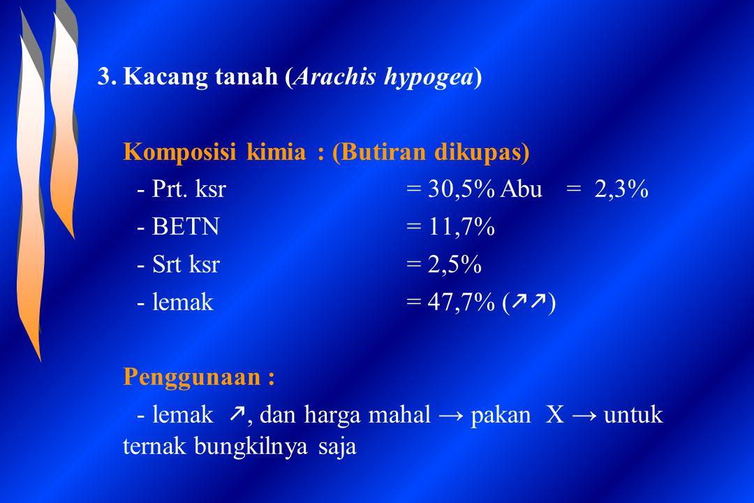 3.Kacang tanah (Arachis hypogea) Komposisi kimia : (Butiran dikupas) - Prt. ksr= 30,5%Abu= 2,3% - BETN= 11,7% - Srt ksr= 2,5% - lemak= 47,7% (  ) Pe