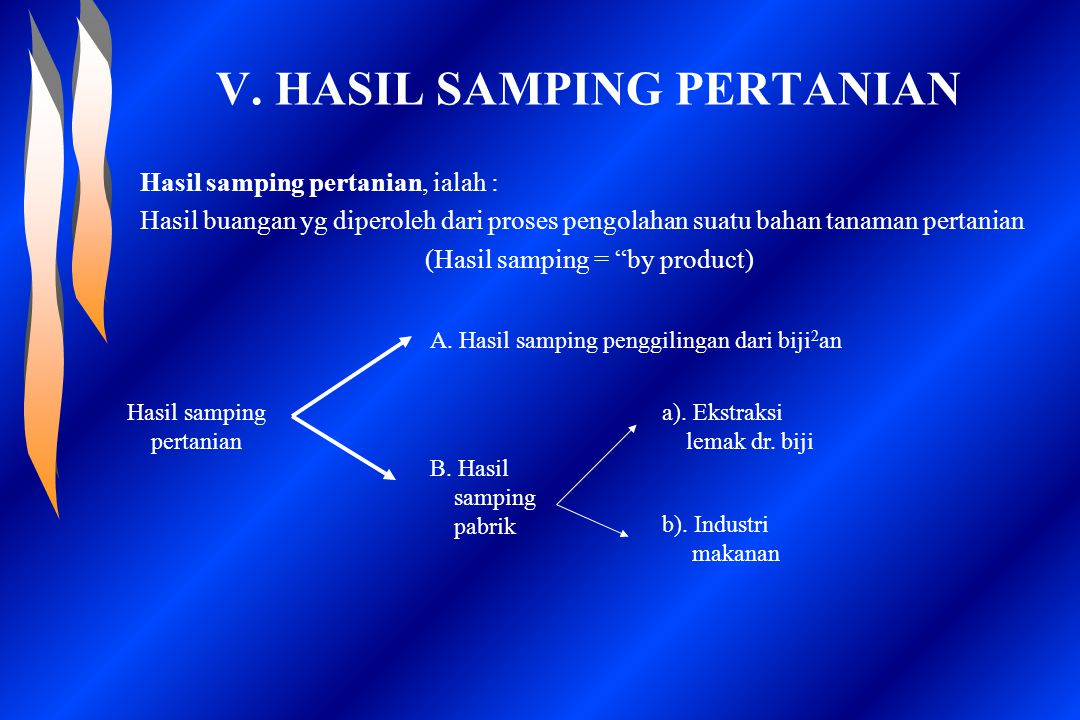 V. HASIL SAMPING PERTANIAN Hasil samping pertanian, ialah : Hasil buangan yg diperoleh dari proses pengolahan suatu bahan tanaman pertanian (Hasil sam