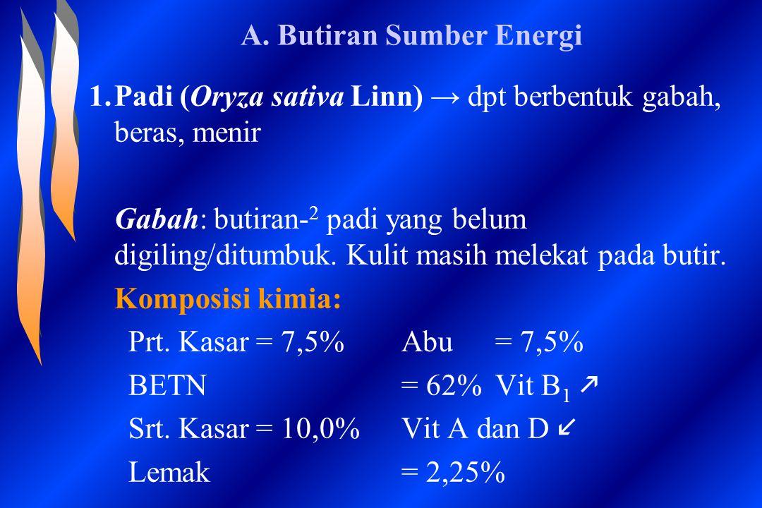 A. Butiran Sumber Energi 1.Padi (Oryza sativa Linn) → dpt berbentuk gabah, beras, menir Gabah: butiran- 2 padi yang belum digiling/ditumbuk. Kulit mas