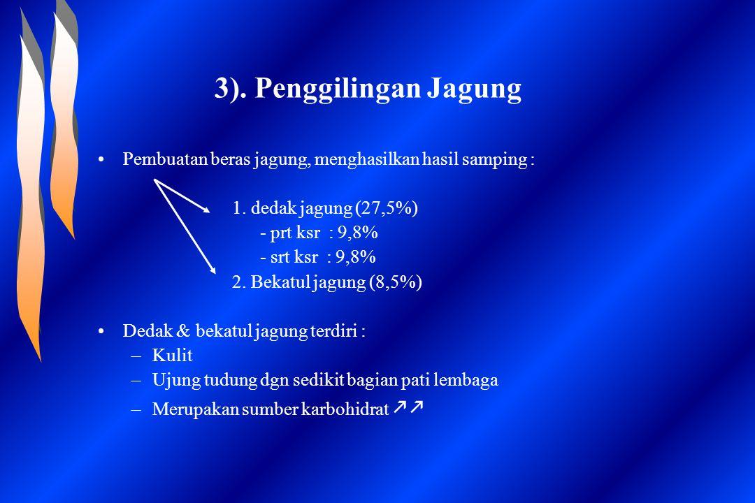 3). Penggilingan Jagung Pembuatan beras jagung, menghasilkan hasil samping : 1. dedak jagung (27,5%) - prt ksr : 9,8% - srt ksr : 9,8% 2. Bekatul jagu