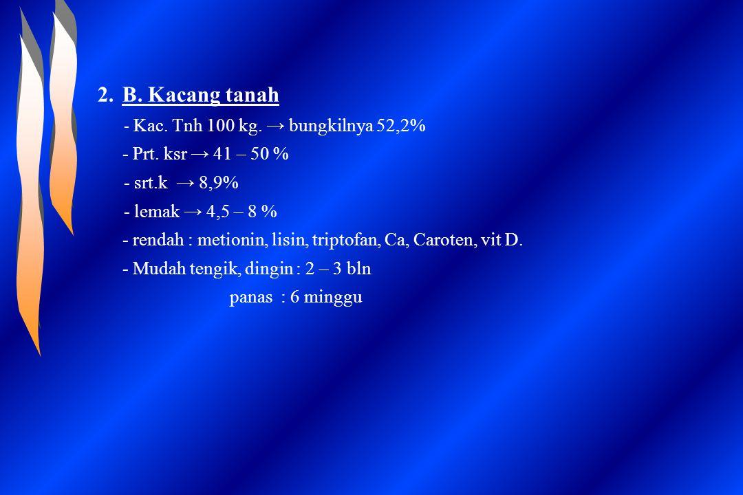 2.B. Kacang tanah - Kac. Tnh 100 kg. → bungkilnya 52,2% - Prt. ksr → 41 – 50 % - srt.k → 8,9% - lemak → 4,5 – 8 % - rendah : metionin, lisin, triptofa