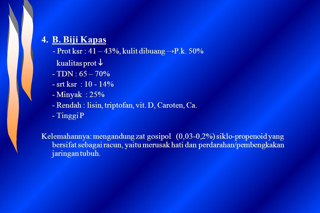4.B. Biji Kapas - Prot ksr : 41 – 43%, kulit dibuang →P.k. 50% kualitas prot  - TDN : 65 – 70% - srt ksr : 10 - 14% - Minyak : 25% - Rendah : lisin,