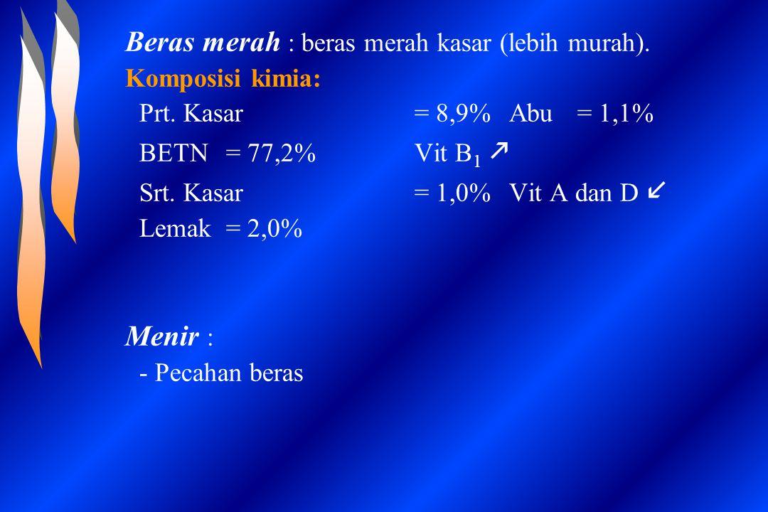 Beras merah : beras merah kasar (lebih murah). Komposisi kimia: Prt. Kasar = 8,9% Abu= 1,1% BETN = 77,2%Vit B 1  Srt. Kasar = 1,0%Vit A dan D Lemak=