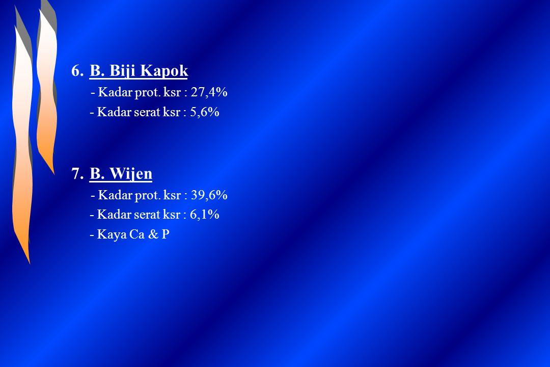 6.B. Biji Kapok - Kadar prot. ksr : 27,4% - Kadar serat ksr : 5,6% 7.B. Wijen - Kadar prot. ksr : 39,6% - Kadar serat ksr : 6,1% - Kaya Ca & P