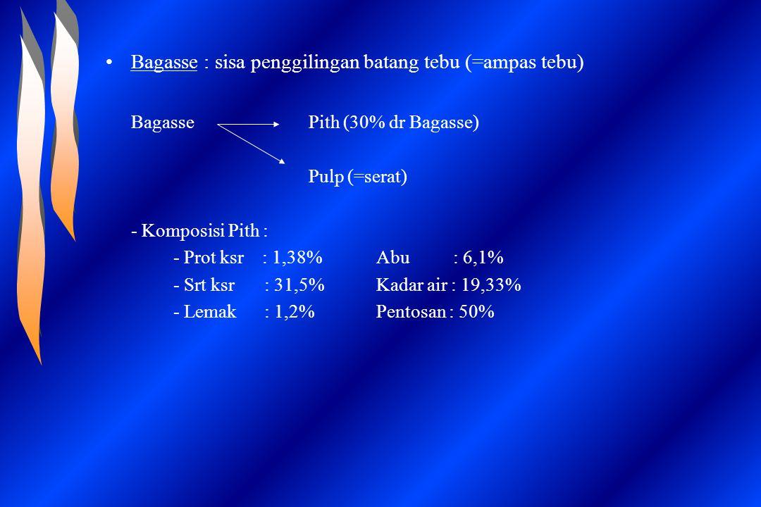 Bagasse : sisa penggilingan batang tebu (=ampas tebu) BagassePith (30% dr Bagasse) Pulp (=serat) - Komposisi Pith : - Prot ksr : 1,38%Abu : 6,1% - Srt