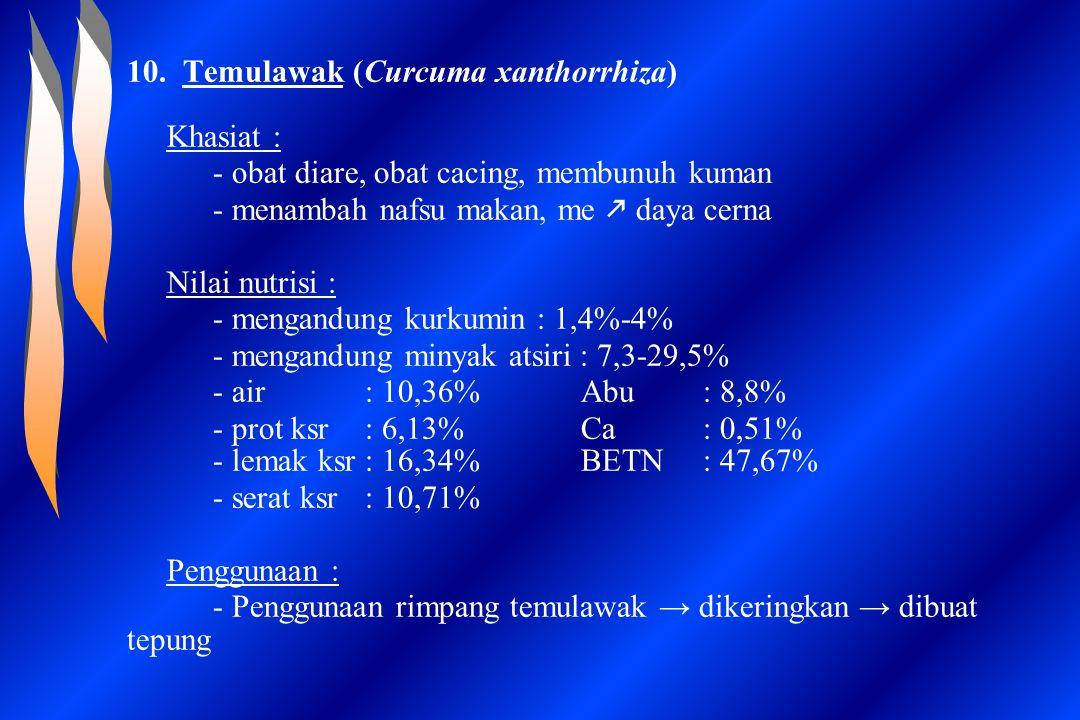10. Temulawak (Curcuma xanthorrhiza) Khasiat : - obat diare, obat cacing, membunuh kuman - menambah nafsu makan, me  daya cerna Nilai nutrisi : - men