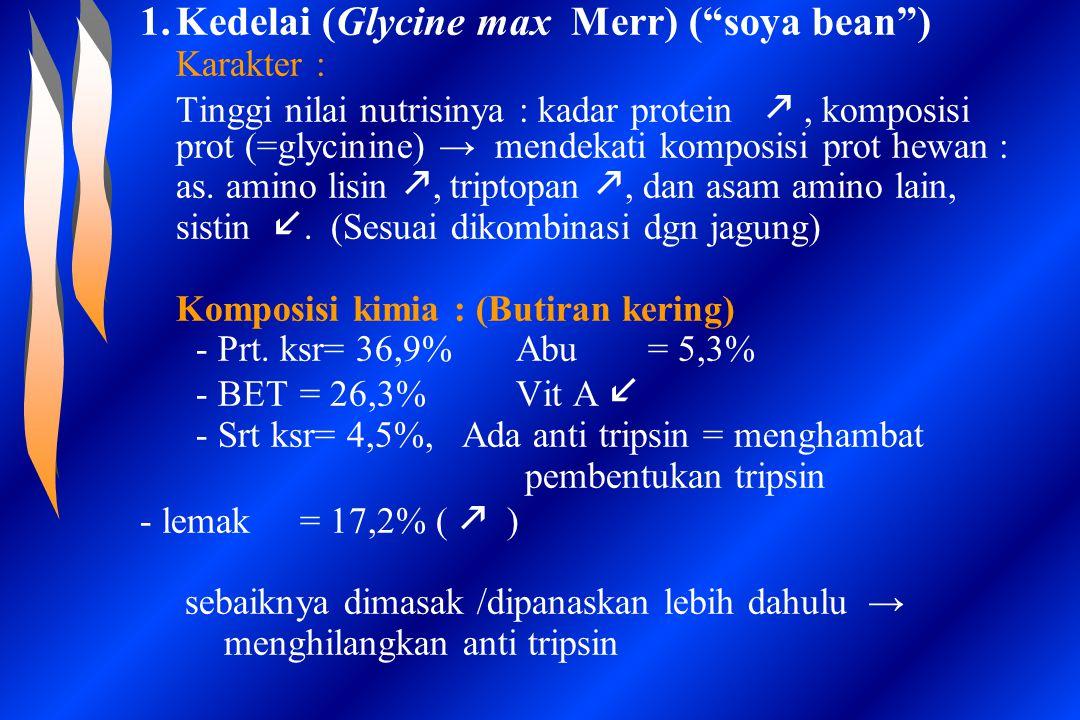 """1.Kedelai (Glycine max Merr) (""""soya bean"""") Karakter : Tinggi nilai nutrisinya : kadar protein , komposisi prot (=glycinine) → mendekati komposisi pro"""