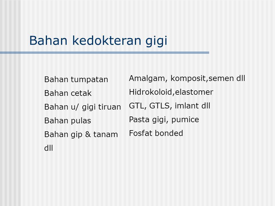 AmalgamMekuri KompositETSA (asam) GTL/SAkrilik (monomer sisa) Pasta gigiFluor dst Bhn kedokt gigi yg berdampak