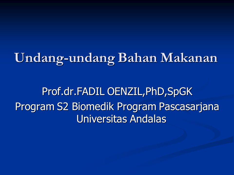Undang-undang Bahan Makanan Prof.dr.FADIL OENZIL,PhD,SpGK Program S2 Biomedik Program Pascasarjana Universitas Andalas