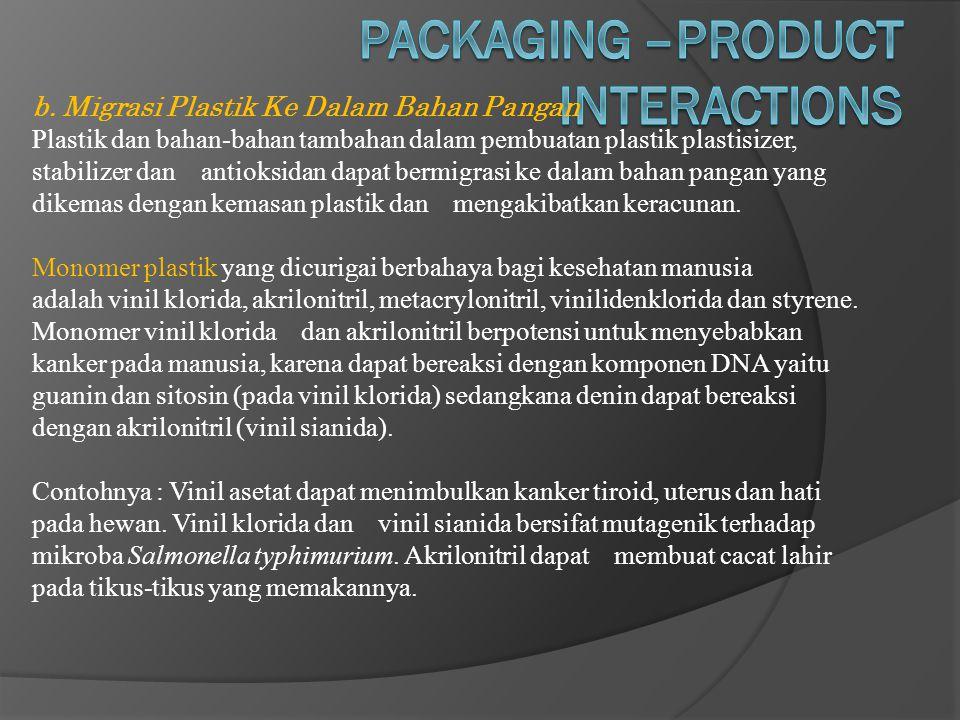 b. Migrasi Plastik Ke Dalam Bahan Pangan Plastik dan bahan-bahan tambahan dalam pembuatan plastik plastisizer, stabilizer dan antioksidan dapat bermig